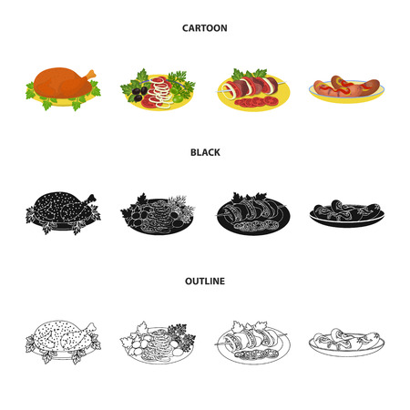 Fried chicken, vegetable salad, shish kebab with vegetables, fried sausages on a plate. Food and Cooking set collection icons in cartoon,black,outline style bitmap symbol stock illustration web.