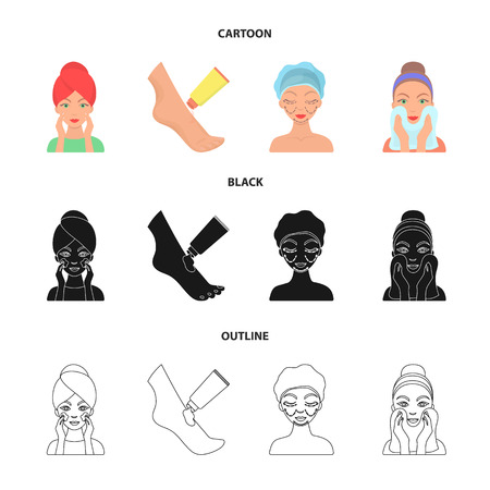Face care, plastic surgery, face wiping, moisturizing the feet. Skin Care set collection icons in cartoon,black,outline style bitmap symbol stock illustration web.