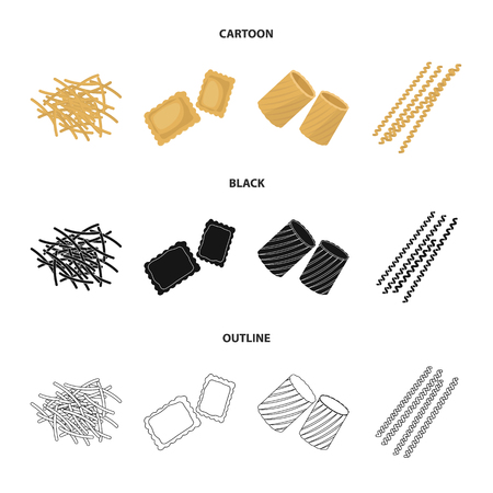 Different types of pasta. Types of pasta set collection icons in cartoon,black,outline style bitmap symbol stock illustration web. Stock Photo