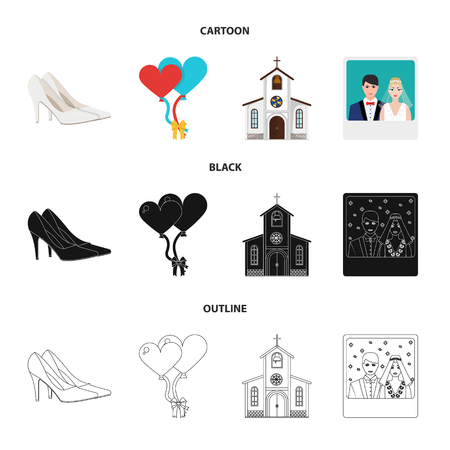 Wedding and Attributes cartoon ,flat,outline,black icons in set collection for design.Newlyweds and Accessories bitmap symbol stock web illustration. Stock Photo