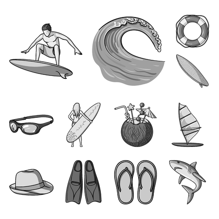 Surfing and extreme monochrome icons in set collection for design. Surfer and accessories bitmap symbol stock web illustration.