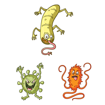 Types of funny microbes cartoon icons in set collection for design. Microbes pathogenic vector symbol stock web illustration.