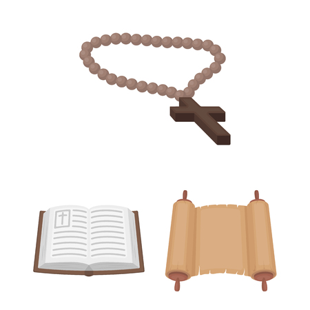 Religion and belief cartoon icons in set collection for design. Accessories, prayer vector symbol stock web illustration. Иллюстрация