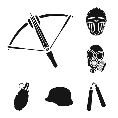 Types of weapons black icons in set collection for design.Firearms and bladed weapons vector symbol stock web illustration.