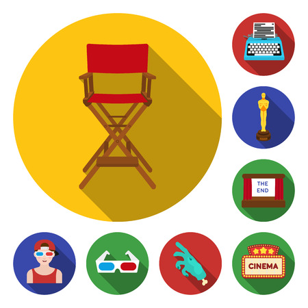 Films and cinema flat icons in set collection for design.Movies and Attributes vector symbol stock web illustration.