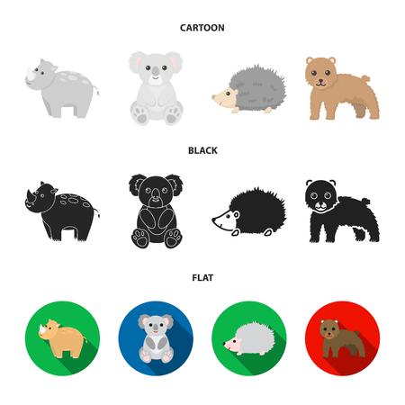 Rhino, koala, panther, hedgehog.Animal set collection icons in cartoon,black,flat style vector symbol stock illustration web.
