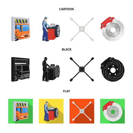 Wheel balancing, spanner and brake disc cartoon,black,flat icons in set collection for design.Car maintenance station vector symbol stock illustration . Ilustração