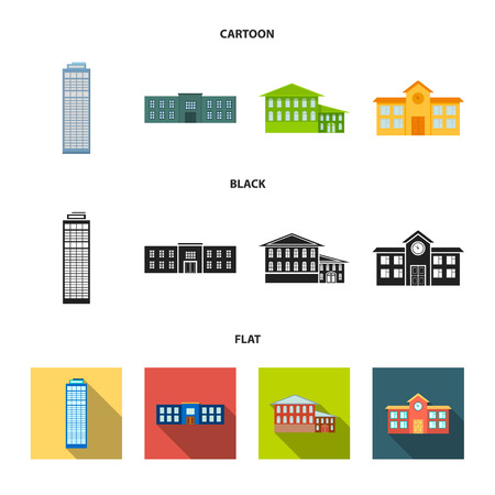 Skyscraper, police, hotel, school.Building set collection icons in cartoon,black,flat style vector symbol stock illustration .