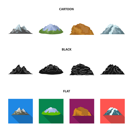 Mountains in the desert, a snowy peak, an island with a glacier, a snow-capped mountain. Different mountains set collection icons in cartoon,black,flat style vector symbol stock illustration .