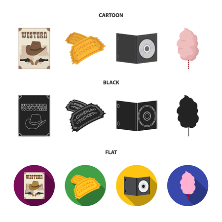 Western cinema, tickets, sweet cotton wool, film on DVD.Filmy and cinema set collection icons in cartoon,black,flat style vector symbol stock illustration . Stock Illustratie