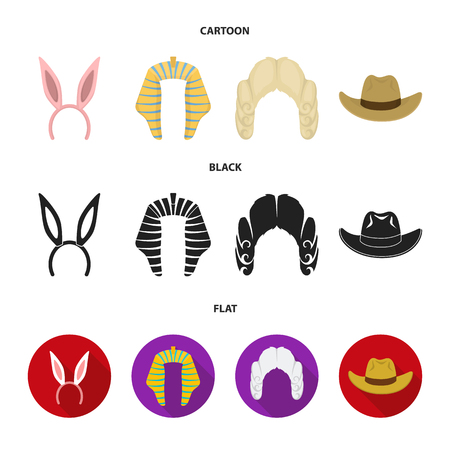 Rabbit ears, judge wig, cowboy. Hats set collection icons in cartoon,black,flat style vector symbol stock illustration .  イラスト・ベクター素材