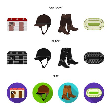 Boots, grass, stadium, track, rest .Hippodrome and horse set collection icons in cartoon,black,flat style vector symbol stock illustration .