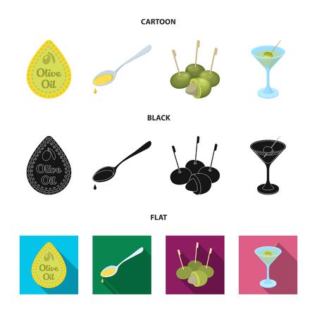 Étiquette d'huile d'olive, cuillère avec une goutte, olives sur bâtonnets, un verre d'alcool. Olives définir des icônes de la collection en illustration stock de symbole de vecteur de le style dessin animé, noir, plat. Vecteurs