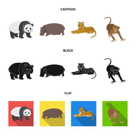 Bamboo bear, hippopotamus, wild animal tiger, monkey . Wild animal set collection icons in cartoon,black,flat style vector symbol stock illustration . Illustration