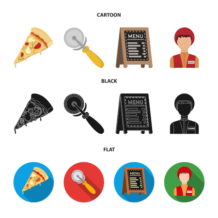 A pizza cutter, a slice, a menu in a pizzeria, a courier. Pizza and pizzeria set collection icons in cartoon,black,flat style vector symbol stock illustration. Vetores