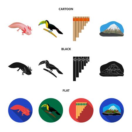 Sampono Mexican musical instrument, a bird with a long beak, Orizaba is the highest mountain in Mexico, axolotl is a rare animal. Mexico country set collection icons in cartoon,black,flat style vector symbol stock illustration . Illustration