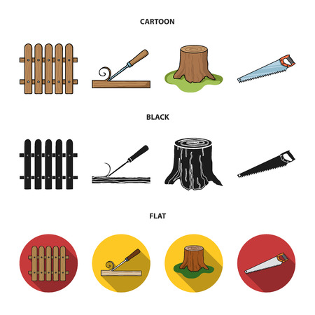 Fence, chisel, stump, hacksaw for wood. Lumber and timber set collection icons in cartoon,black,flat style vector symbol stock illustration . Иллюстрация