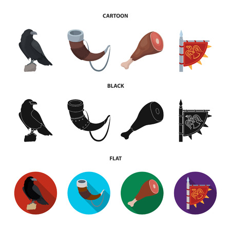 Sitting crow, horn with drink, ham, victory flag. Vikings set collection icons in cartoon,black,flat style vector symbol stock illustration .