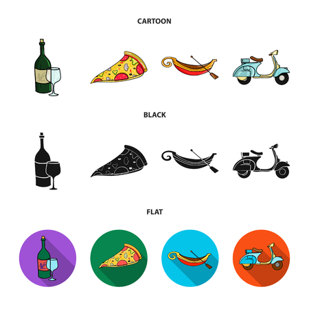 A bottle of wine, a piece of pizza, a gundola, a scooter. Italy set collection icons in cartoon,black,flat style vector symbol stock illustration .