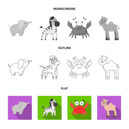 An unrealistic flat,outline,monochrome animal icons in set collection for design. Toy animals vector symbol stock  illustration.
