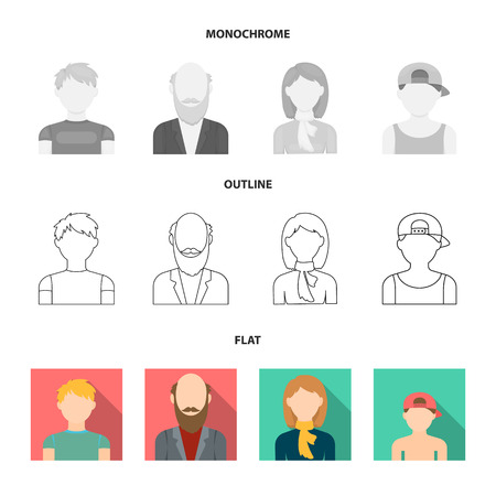 Boy in a cap, redheaded teenager, grandfather with a beard, a woman.Avatar set collection icons in flat,outline,monochrome style vector symbol stock illustration .
