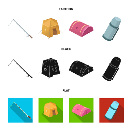 Spinning for fishing, tent, thermos.Tent set collection icons in cartoon,black,flat style vector symbol stock illustration .
