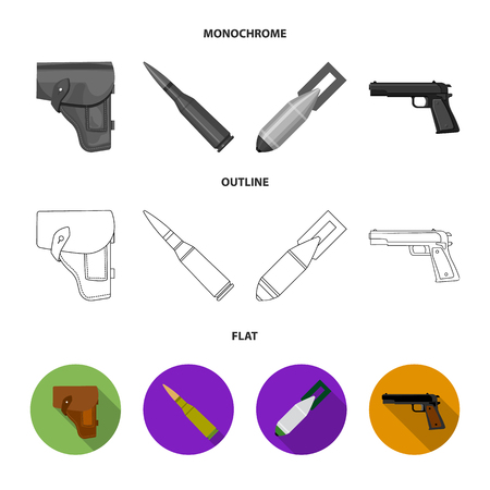 Holster, cartridge, air bomb, pistol. Military and army set collection icons in flat,outline,monochrome style vector symbol stock illustration .
