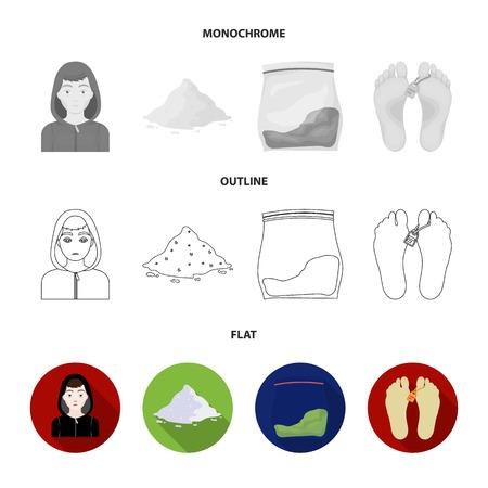 Addict, cocaine, marijuana, corpse.Drug set collection icons in flat,outline,monochrome style vector symbol stock illustration .