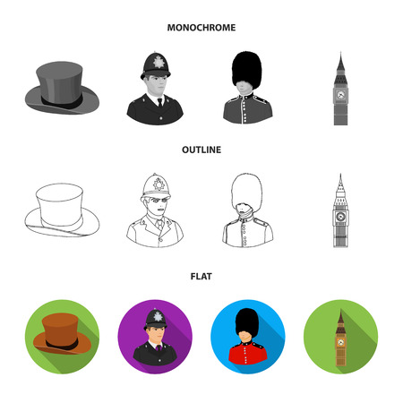 England, gentleman, hat, officer .England country set collection icons in flat,outline,monochrome style vector symbol stock illustration . Vettoriali