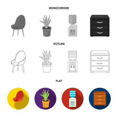 A red chair with a comfortable back, an aloe flower in a pot, an apparatus with clean water, a cabinet for office papers. Office Furniture set collection icons in flat,outline,monochrome style vector symbol stock illustration .