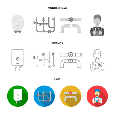 Boiler, plumber, ventils and pipes.Plumbing set collection icons in flat,outline,monochrome style vector symbol stock illustration .