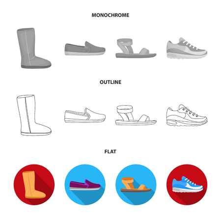 Beige ugg boots with fur, brown loafers with a white sole, sandals with a fastener, white and blue sneakers. Shoes set collection icons in flat,outline,monochrome style vector symbol stock illustration . Illustration