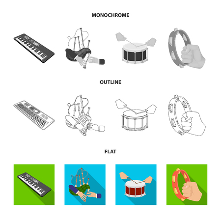 Synthesizer melodies, bagpipes Scotch and other  icon in flat,outline,monochrome style. drum, drum roll, tambourine in hand icons in set collection. Illustration