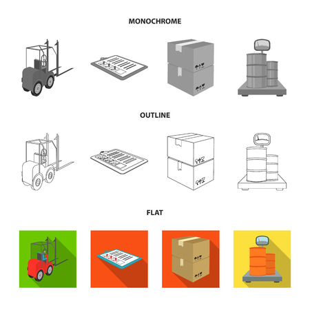 Forklift, delivery slips, packaged goods, cargo on weighing scales. Logistics and delivery set collection icons in flat,outline,monochrome style isometric vector symbol stock illustration .