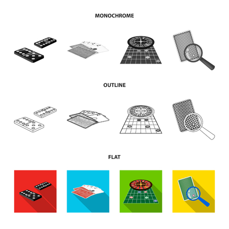 Excitement, casino, game and other  icon in flat,outline,monochrome style Magnifier, cheating, entertainment, icons in set collection Illustration