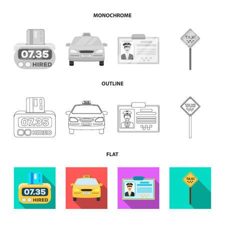 The counter of the fare in the taxi, the taxi car, the driver badge, the parking lot of the car. Taxi set collection icons in flat,outline,monochrome style vector symbol stock illustration .