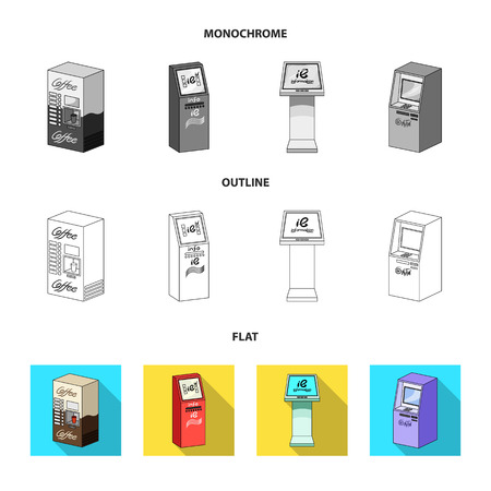 Coffee machine, ATM, information terminal. Terminals set collection icons in flat,outline,monochrome style isometric vector symbol stock illustration . Illustration
