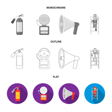 Fire extinguisher, alarm, megaphone, fireman on the stairs. Fire departmentset set collection icons in flat,outline,monochrome style vector symbol stock illustration . Иллюстрация