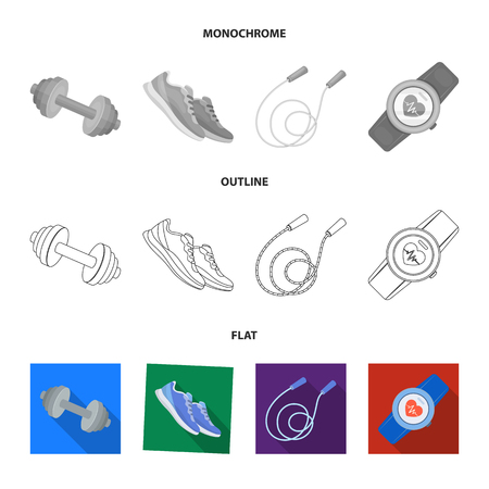 Dumbbell, rope and other equipment for training.Gym and workout set collection icons in flat,outline,monochrome style vector symbol stock illustration web.