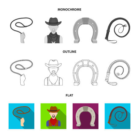 Hand lasso, cowboy, horseshoe, whip. Rodeo set collection icons in flat,outline,monochrome style vector symbol stock illustration web.
