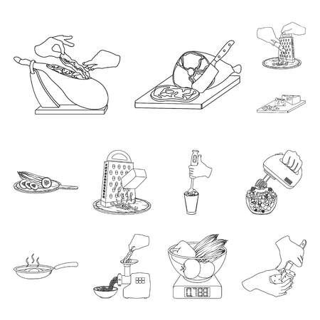 Cooking food outline icons in set collection for design. Kitchen, equipment and tools vector symbol stock web illustration. Vetores