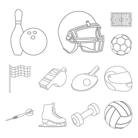 Different kinds of sports outline icons in set collection for design. Sport equipment vector symbol stock web illustration.