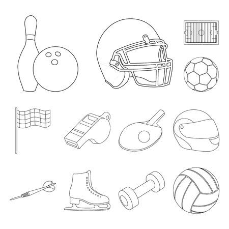 Diferentes tipos de iconos de contorno de deportes de colección set de diseño. Ilustración de stock de símbolo de vector de equipo deportivo.