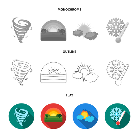 Tornado, sunrise, cloudiness, snow and frost. The weather set collection icons in flat,outline,monochrome style vector symbol stock illustration web.