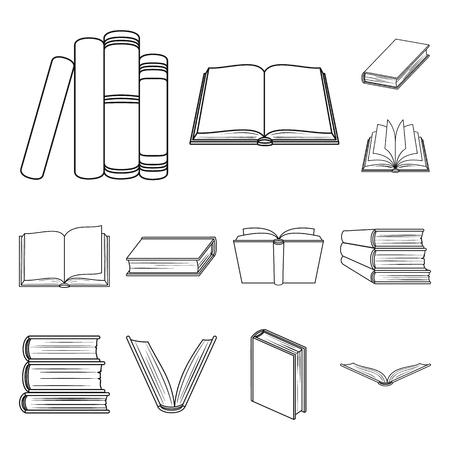 Icone di contorno rilegate a libro nella raccolta di set per il design. Prodotti stampati simbolo d'archivio web di vettore.