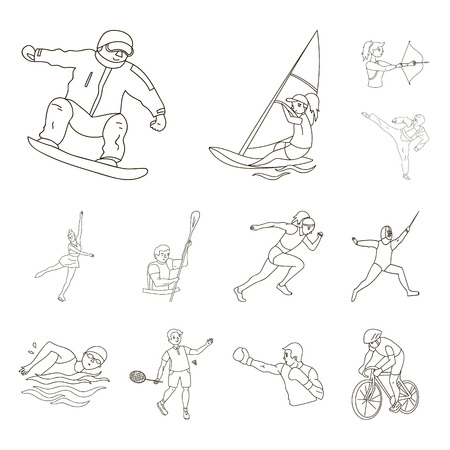 Different kinds of sports outline icons in set collection for design. Athlete, competitions vector symbol stock web illustration.