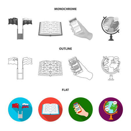 Two flags, a book for the blind, a hand with a phone with translated text, a globe of the Earth. Interpreter and translator set collection icons in flat,outline,monochrome style vector symbol stock illustration . Ilustração