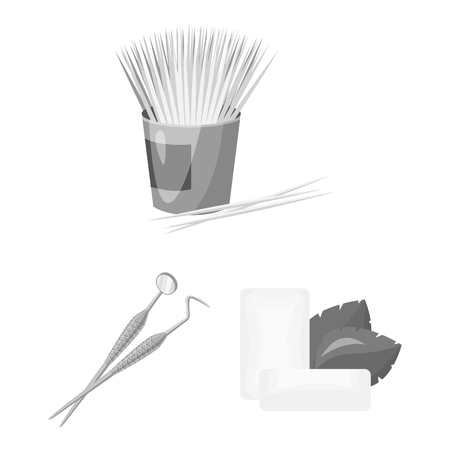 Dental care monochrome icons in set collection for design. Care of teeth bitmap symbol stock web illustration. 版權商用圖片