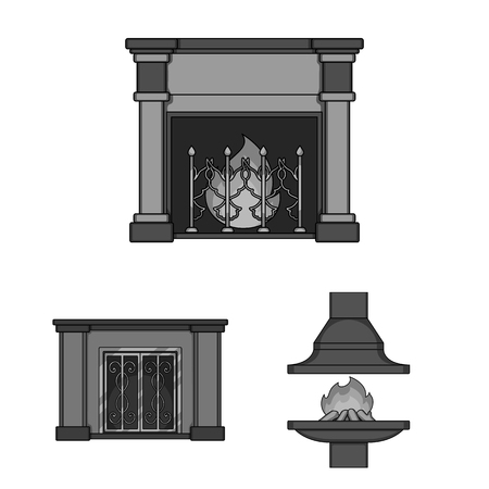 Different kinds of fireplaces monochrome icons in set collection for design.Fireplaces construction bitmap symbol stock web illustration.