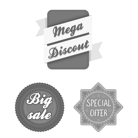 Different label monochrome icons in set collection for design. Index and brand bitmap symbol stock web illustration.
